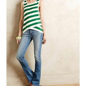 Anthro Moth striped Green Valley sweater tank